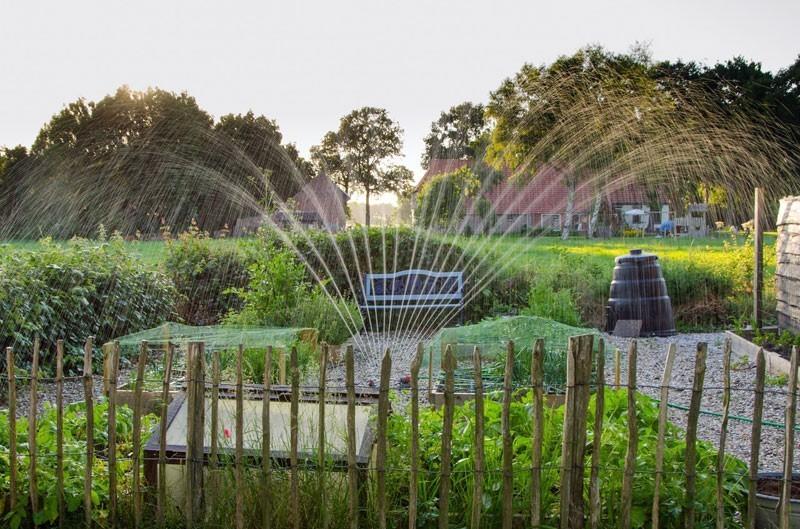 Sprinklers turn on, watering the garden