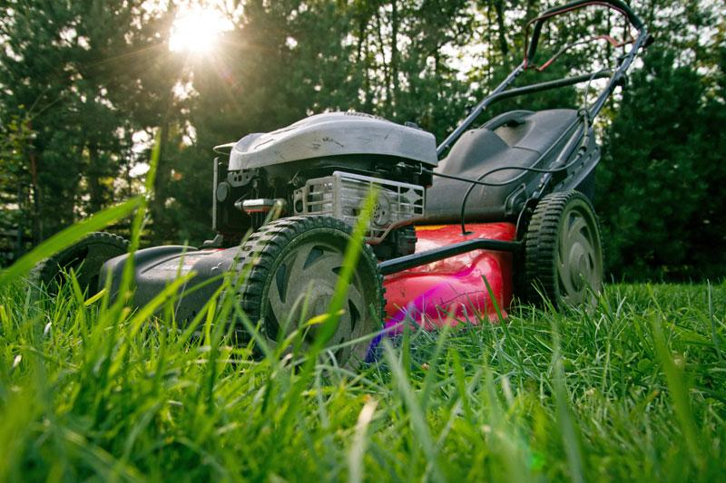 A lawnmower waiting on a lawn.