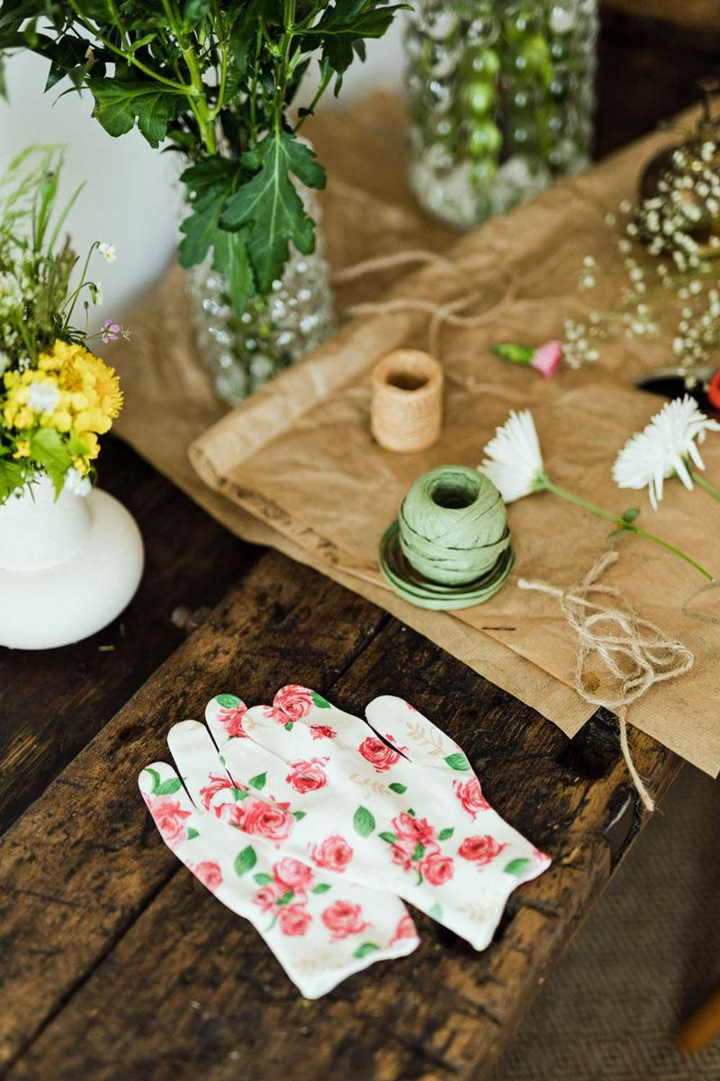 gardening gloves on a table